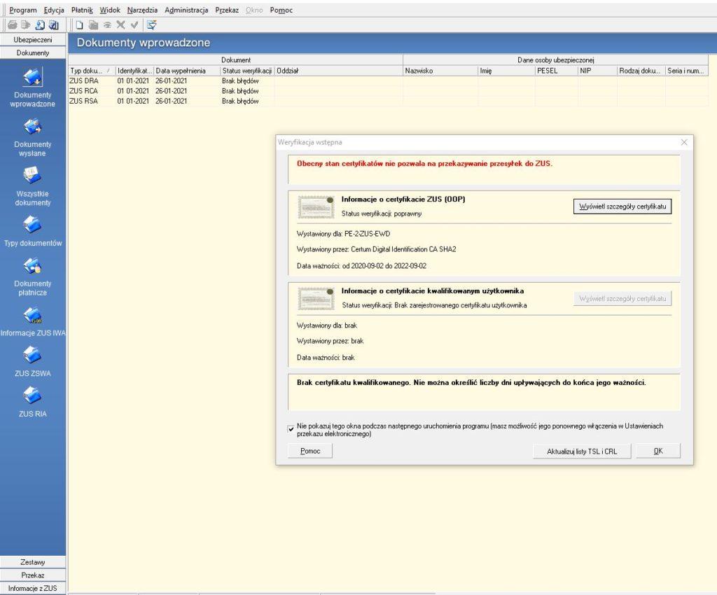 Obecny stan certyfikatów nie pozwala na przekazywanie przesyłek do ZUS